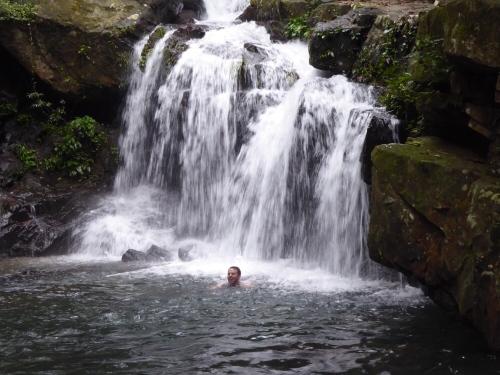 Swimming in waterfall